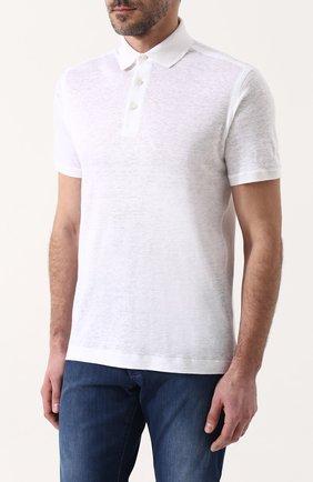 Мужское льняное поло ZILLI белого цвета, арт. MFP-ZJ003-66006/0001 | Фото 3