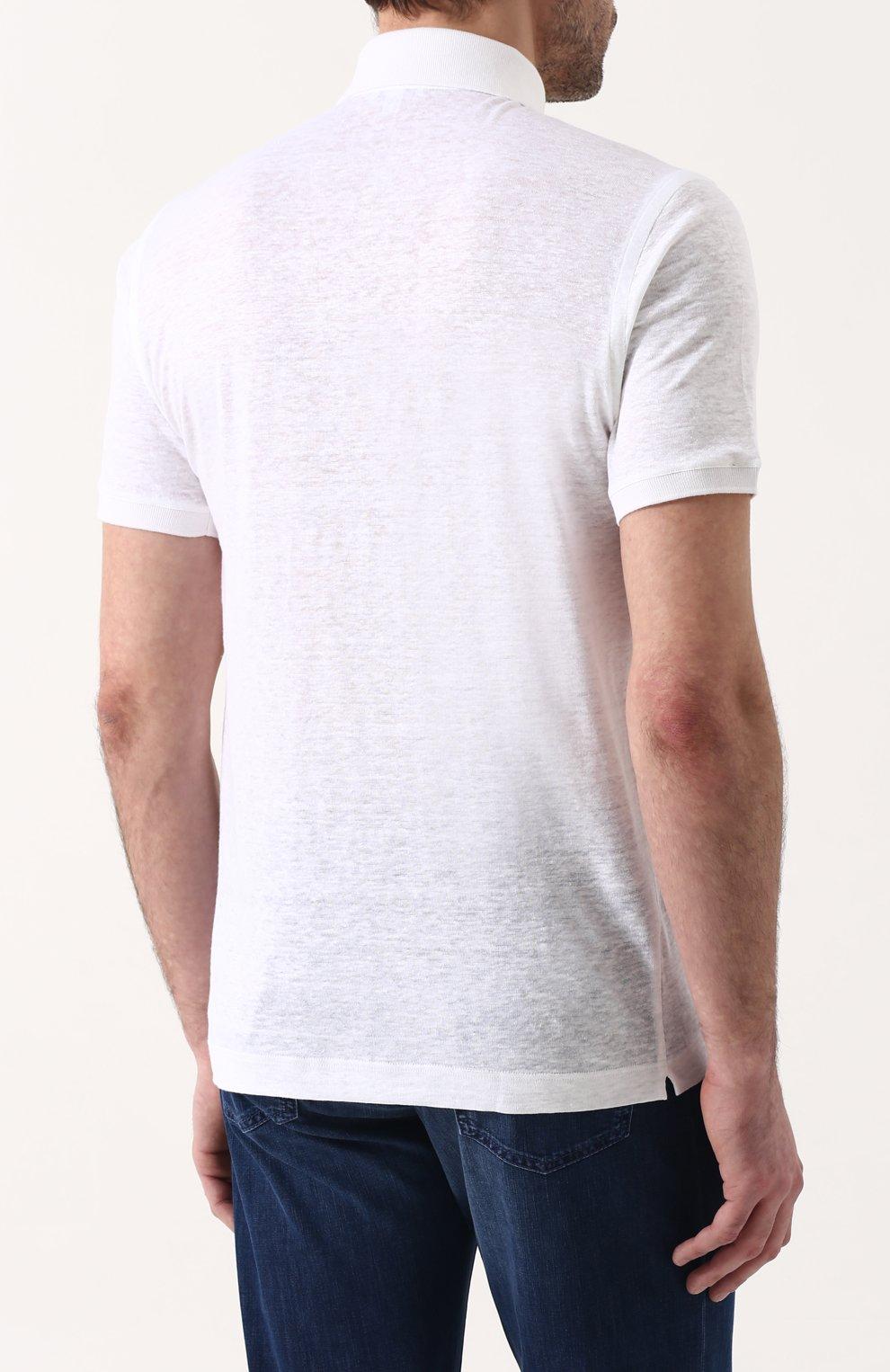 Мужское льняное поло ZILLI белого цвета, арт. MFP-ZJ003-66006/0001 | Фото 4