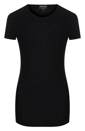 Женская футболка из вискозы GIORGIO ARMANI черного цвета, арт. 8NAM32/AM05Z | Фото 1 (Длина (для топов): Стандартные; Материал внешний: Синтетический материал, Вискоза; Рукава: Короткие; Рукава от горловины: Короткие; Силуэт Ж (для верхов): Приталенный; Принт: Без принта; Статус проверки: Проверена категория; Женское Кросс-КТ: Футболка-одежда)
