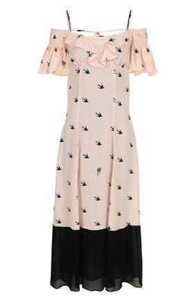 Платье-миди из вискозы с открытыми плечами | Фото №1