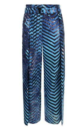 Укороченные широкие брюки с принтом   Фото №1