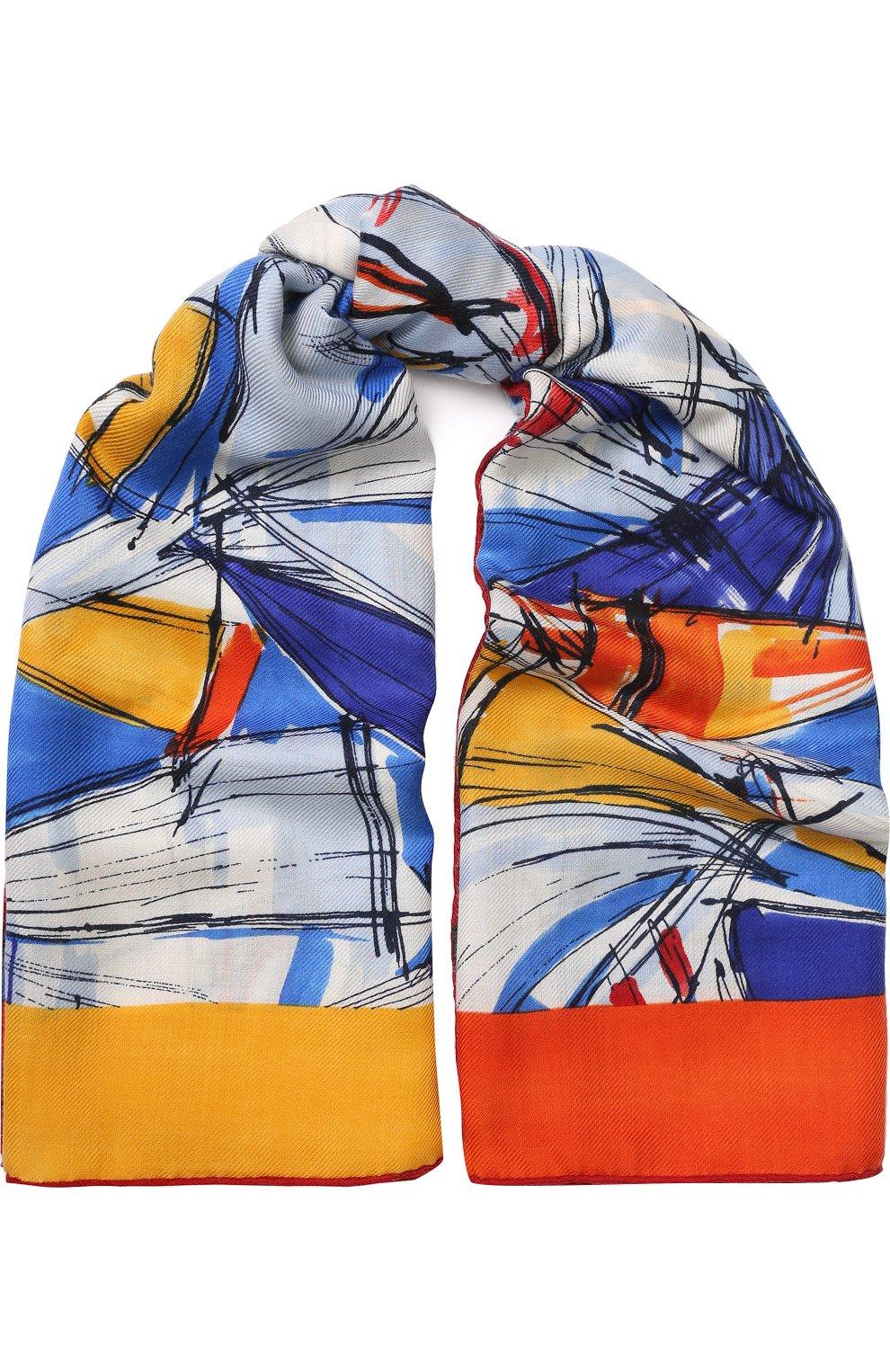 Женская шаль la giraglia из смеси кашемира и шелка LORO PIANA синего цвета, арт. FAI1065   Фото 1
