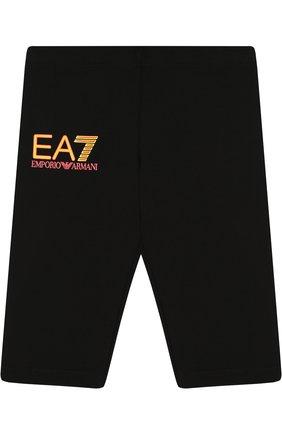 Детские хлопковые брюки EA 7 черного цвета, арт. 3ZFP51/FJ01Z | Фото 1