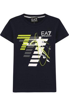 Детская хлопковая футболка с принтом EA 7 темно-синего цвета, арт. 3ZBT64/BJA2Z | Фото 1