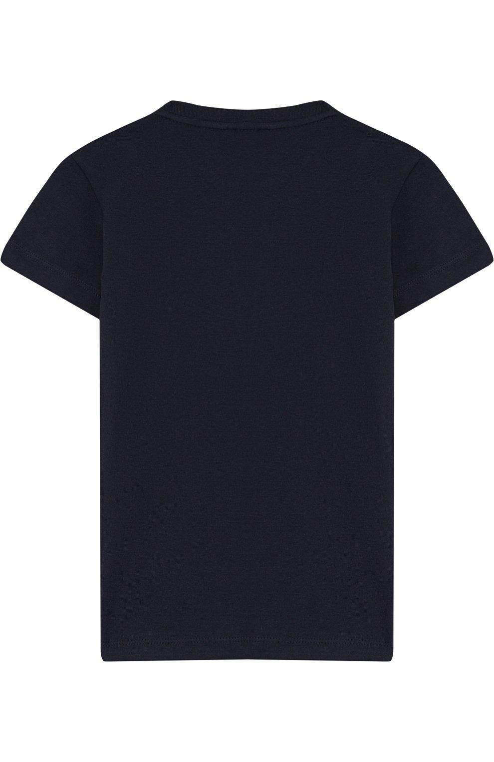 Детская хлопковая футболка с принтом EA 7 темно-синего цвета, арт. 3ZBT64/BJA2Z | Фото 2