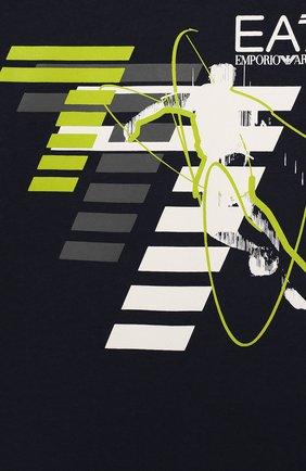 Детская хлопковая футболка с принтом EA 7 темно-синего цвета, арт. 3ZBT64/BJA2Z | Фото 3