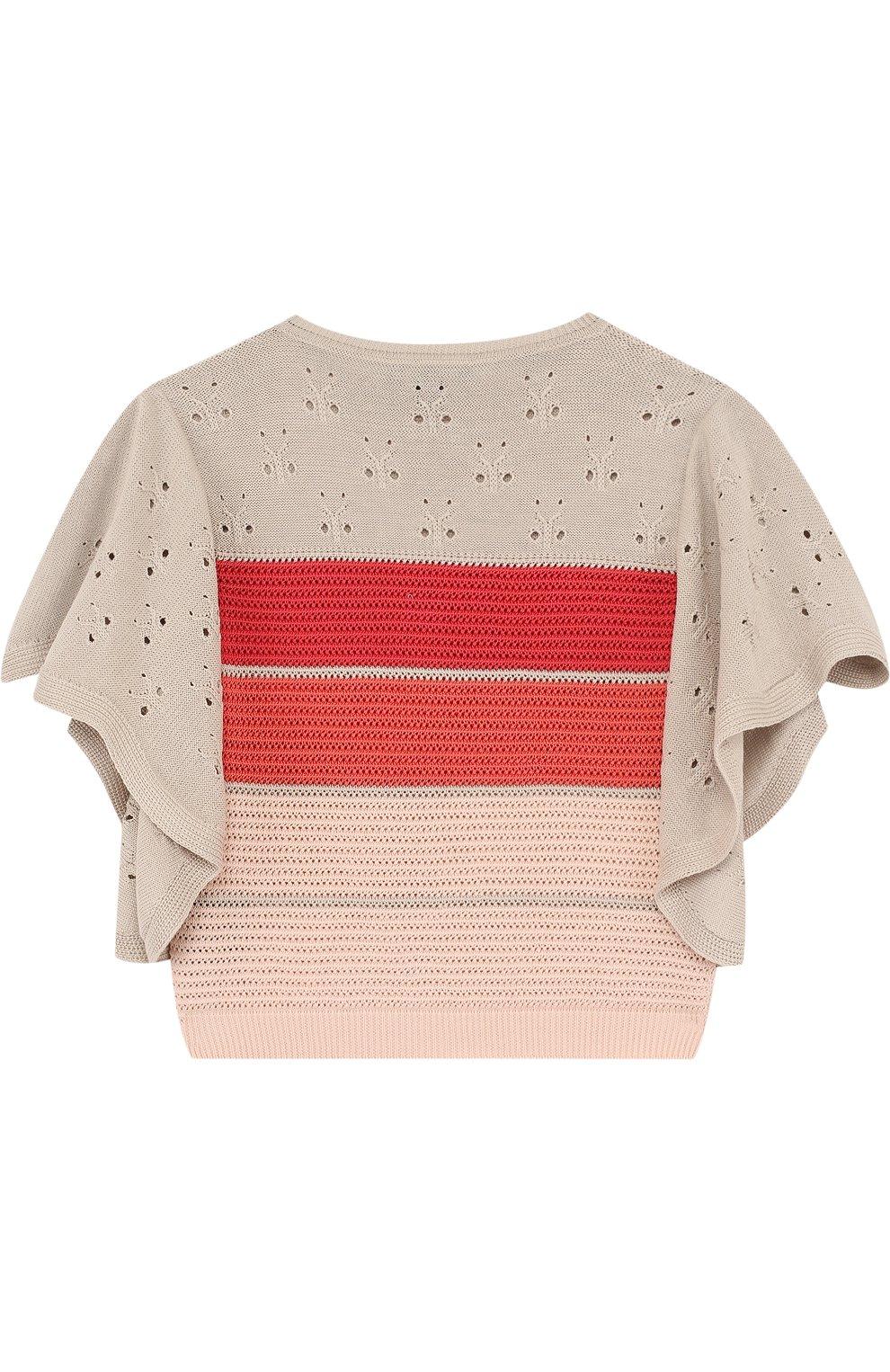 Детский топ из смеси хлопка и шелка фактурной вязки с расклешенными рукавами LORO PIANA розового цвета, арт. FAI0626 | Фото 2