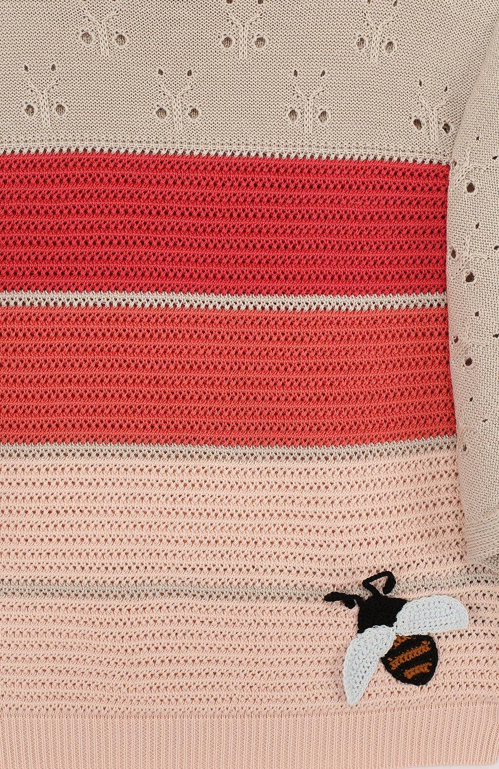 Детский топ из смеси хлопка и шелка фактурной вязки с расклешенными рукавами LORO PIANA розового цвета, арт. FAI0626 | Фото 3