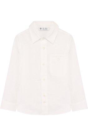 Детская льняная рубашки прямого кроя LORO PIANA белого цвета, арт. FAG1926 | Фото 1
