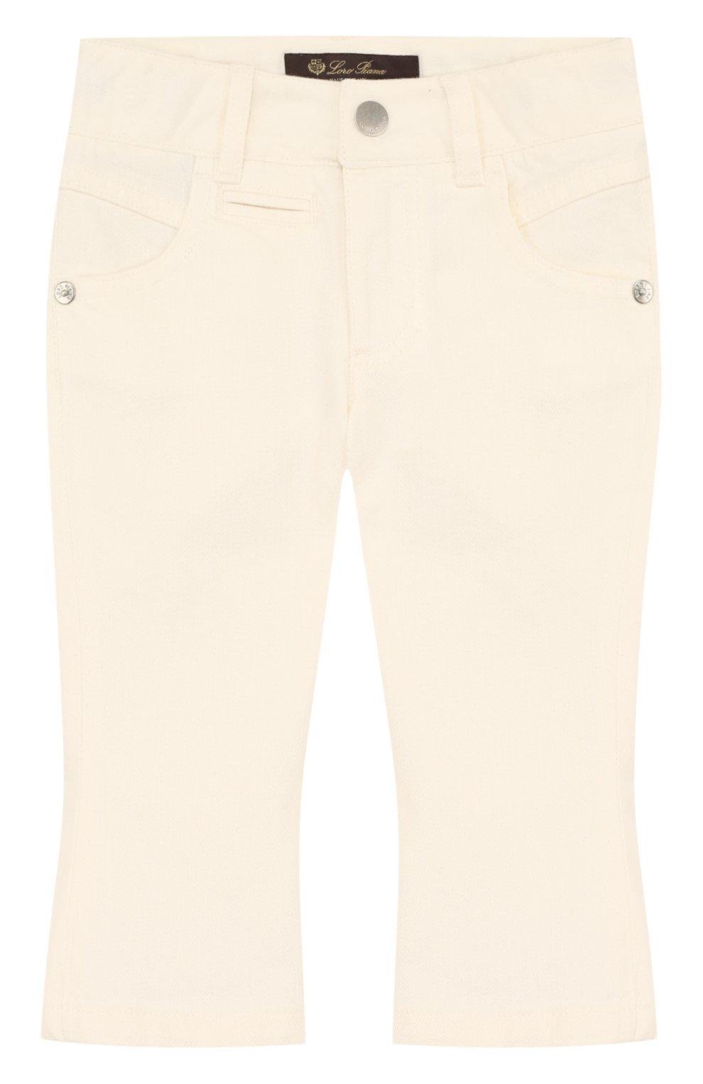 Детские расклешенные джинсы с фигурными карманами LORO PIANA белого цвета, арт. FAI0656 | Фото 1