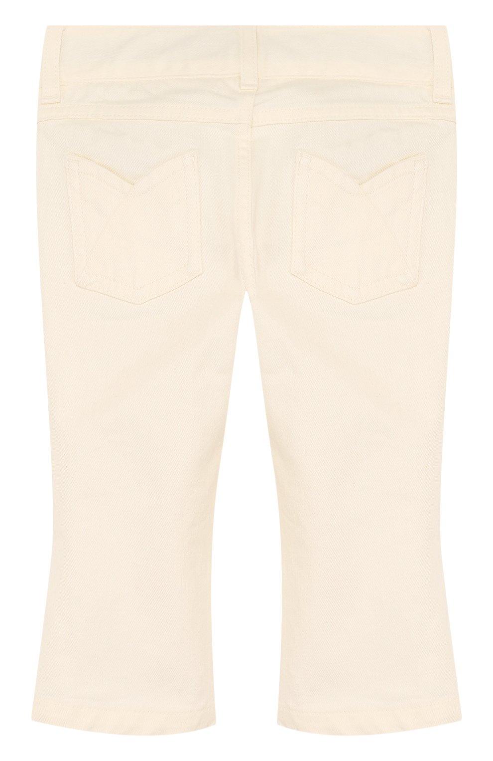 Детские расклешенные джинсы с фигурными карманами LORO PIANA белого цвета, арт. FAI0656 | Фото 2