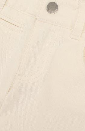 Детские расклешенные джинсы с фигурными карманами LORO PIANA белого цвета, арт. FAI0656 | Фото 3
