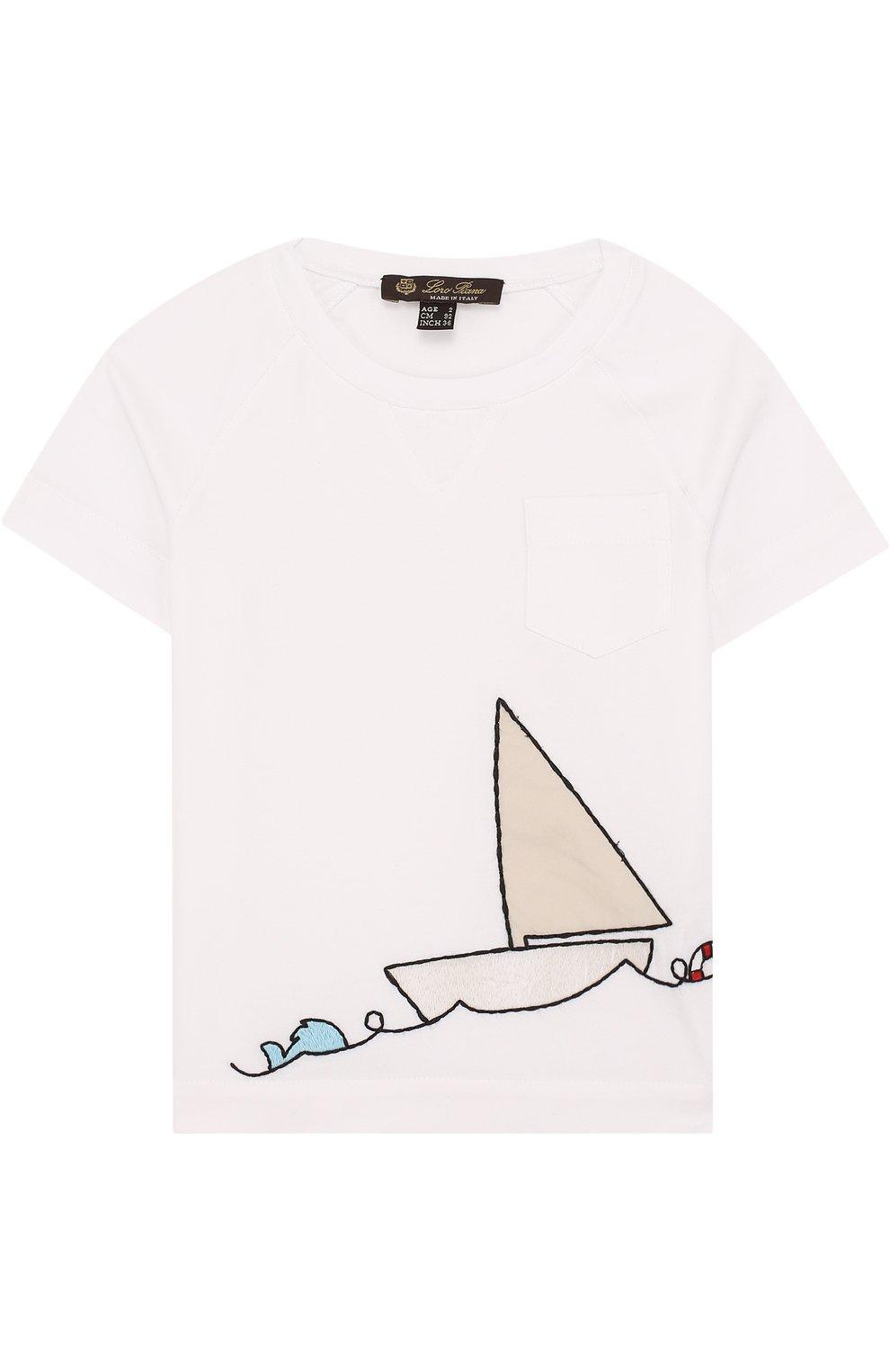 Детская хлопковая футболка с вышивкой LORO PIANA белого цвета, арт. FAI0800 | Фото 1