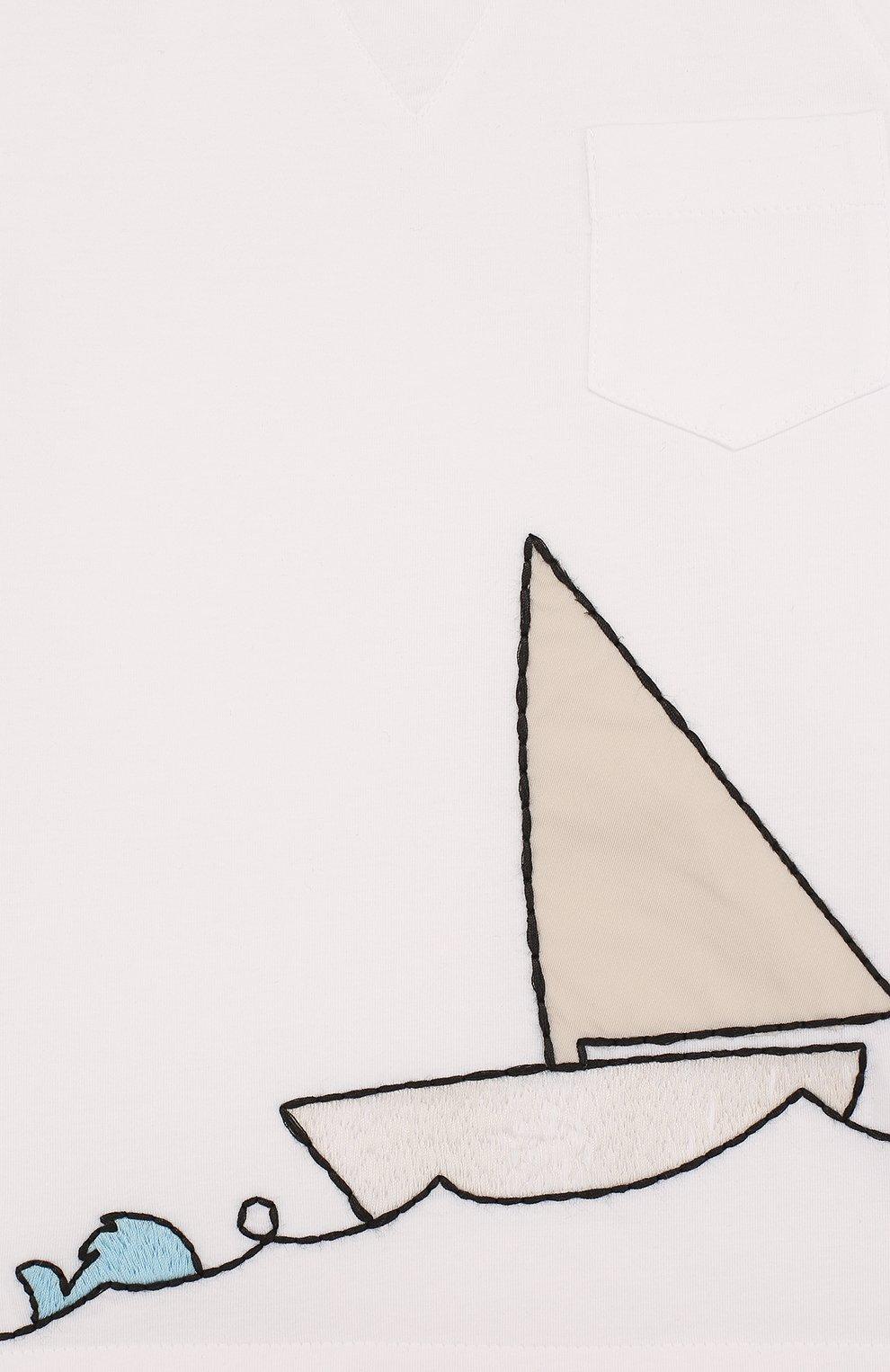 Детская хлопковая футболка с вышивкой LORO PIANA белого цвета, арт. FAI0800 | Фото 3
