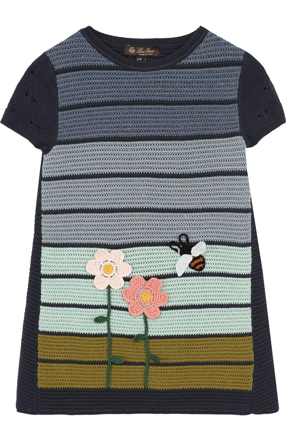 Детское мини-платье из смеси хлопка и шелка фактурной вязки LORO PIANA синего цвета, арт. FAI0625   Фото 1