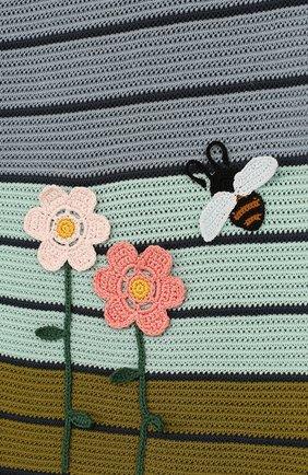 Детское мини-платье из смеси хлопка и шелка фактурной вязки LORO PIANA синего цвета, арт. FAI0625   Фото 3