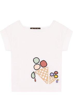 Детская хлопковая футболка с принтом LORO PIANA белого цвета, арт. FAI0955 | Фото 1