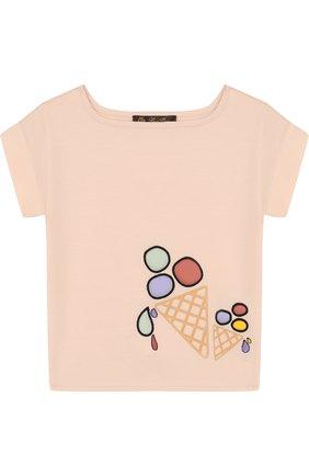 Детская хлопковая футболка с принтом LORO PIANA светло-розового цвета, арт. FAI0955 | Фото 1