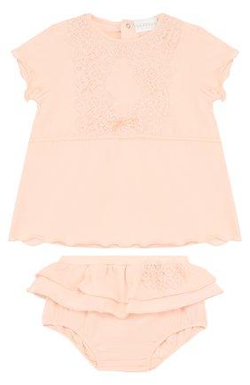 Детского хлопковый комплект из топа и трусов LA PERLA розового цвета, арт. 50057/18M-24M | Фото 1