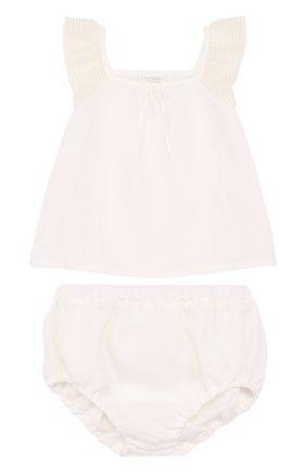 Детский льняной комплект из топа и трусов LA PERLA белого цвета, арт. 50597/18M-24M | Фото 1