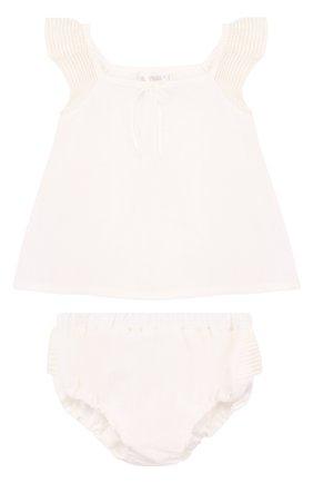 Детский льняной комплект из топа и трусов LA PERLA белого цвета, арт. 50597/3M-12M | Фото 1