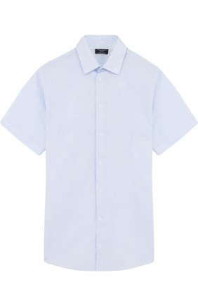 Детская рубашка из смеси хлопка и льна Dal Lago голубого цвета | Фото №1