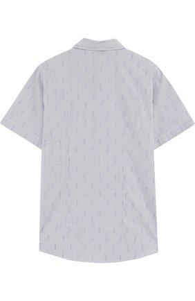 Детская хлопковая рубашка прямого кроя с короткими рукавами Dal Lago синего цвета | Фото №1