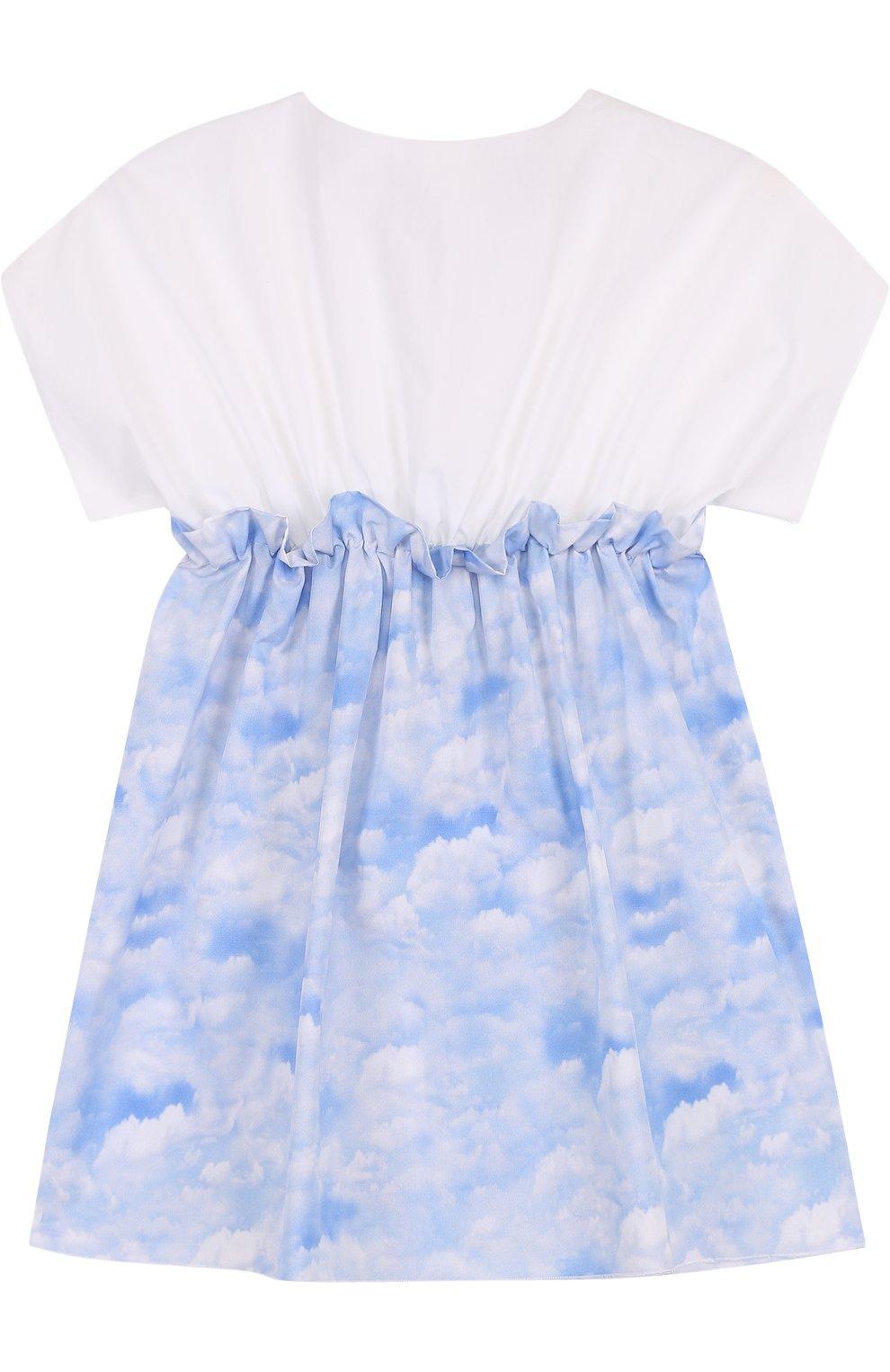 Детское хлопковое мини-платье с эластичной вставкой на поясе LEOCA голубого цвета, арт. 18SS/007D/2Y-6Y | Фото 1