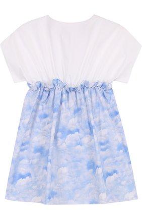 Хлопковое мини-платье с эластичной вставкой на поясе | Фото №1
