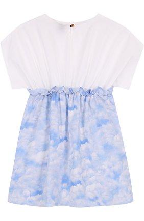 Детское хлопковое мини-платье с эластичной вставкой на поясе LEOCA голубого цвета, арт. 18SS/007D/2Y-6Y | Фото 2