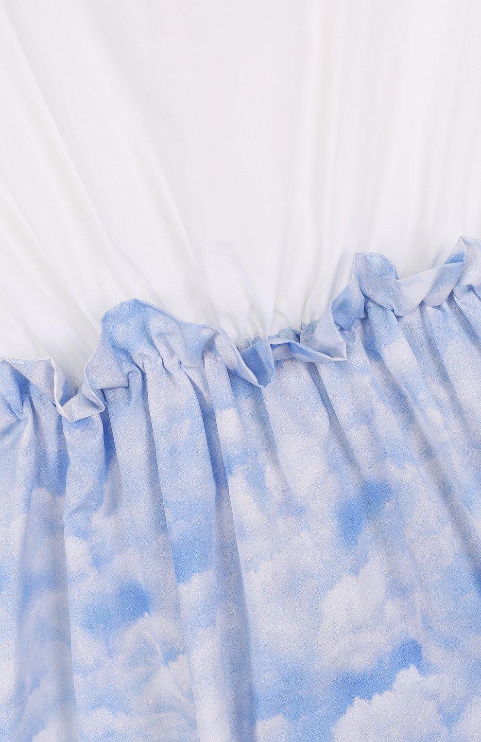 Детское хлопковое мини-платье с эластичной вставкой на поясе LEOCA голубого цвета, арт. 18SS/007D/2Y-6Y | Фото 3