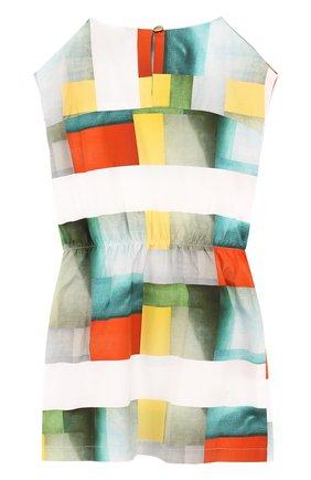 Детское хлопковое мини-платье с эластичной вставкой на поясе и принтом Leoca разноцветного цвета | Фото №1