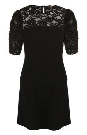 Однотонное мини-платье с кружевным лифом | Фото №1