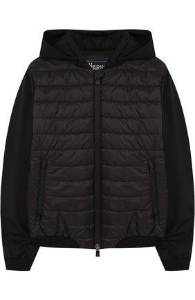 Стеганая куртка с капюшоном и текстильными рукавами Herno черного цвета   Фото №1