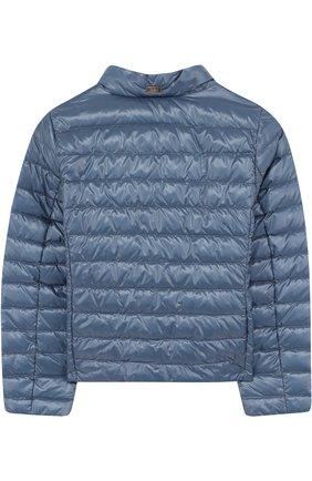 Пуховая куртка с воротником-стойкой Herno голубого цвета   Фото №1