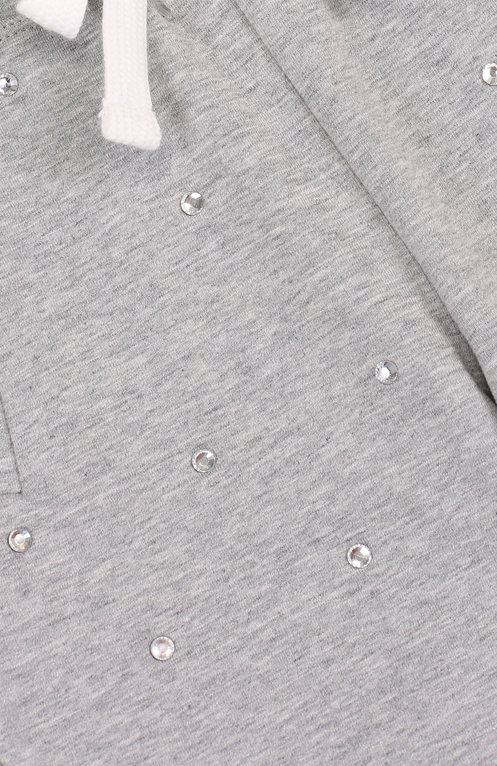 Детские хлопковые джоггеры со стразами NO. 21 светло-серого цвета, арт. 08 X/K107/3440/26-32 | Фото 3