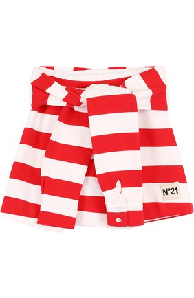 Хлопковая мини-юбка в полоску с декоративным поясом | Фото №1