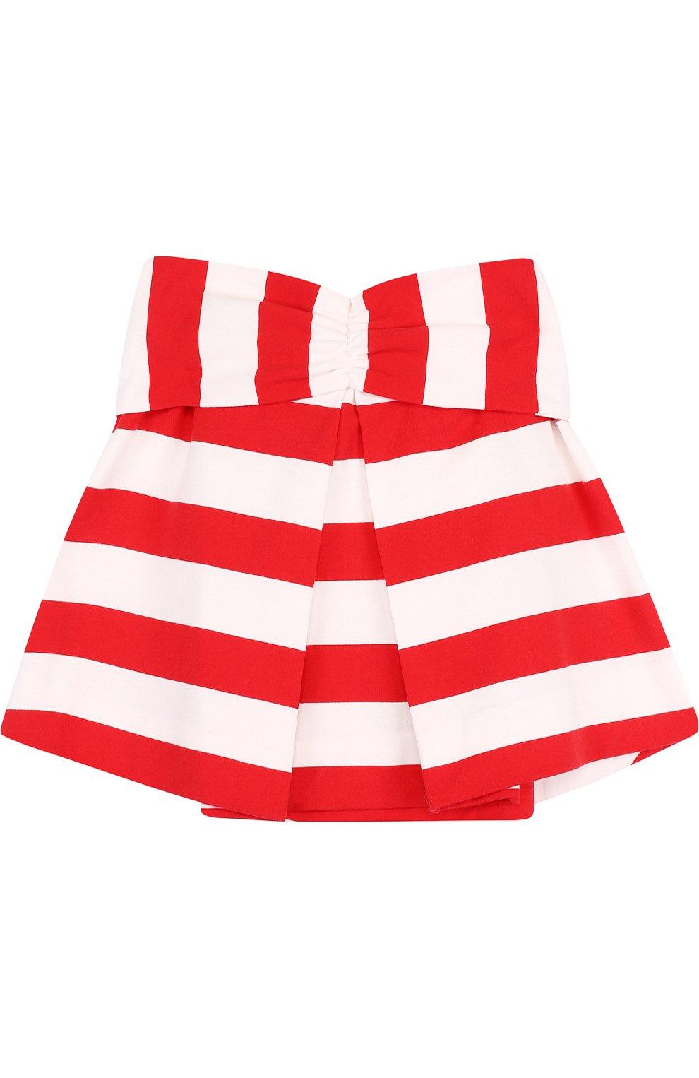 Хлопковая мини-юбка в полоску с декоративным поясом | Фото №2