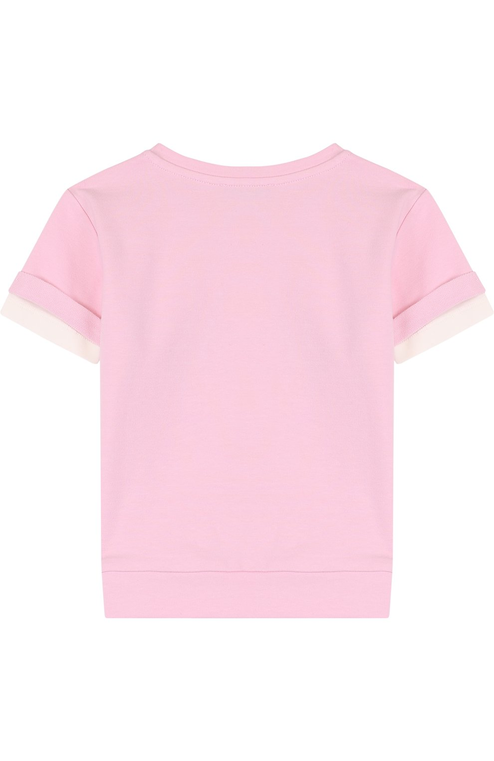 Детский хлопковый свитшот со стразами и короткими рукавами NO. 21 розового цвета, арт. 08 X/K805/3440/26-32 | Фото 2