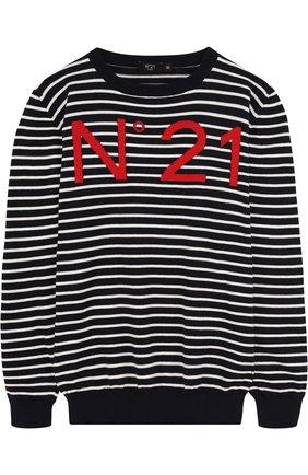 Хлопковый пуловер в полоску с логотипом бренда   Фото №1