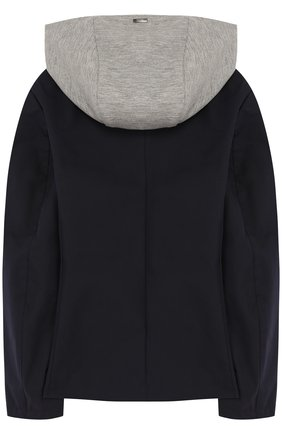 Куртка на пуговицах с капюшоном Herno синего цвета   Фото №1