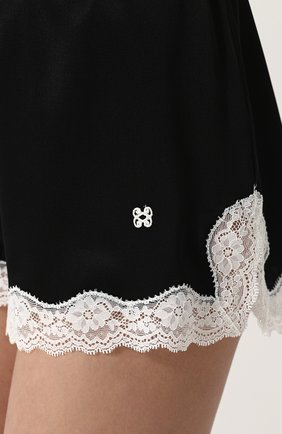 Женские шелковые мини-шорты с кружевной отделкой VANNINA VESPERINI черно-белого цвета, арт. VVPE18-26 | Фото 5