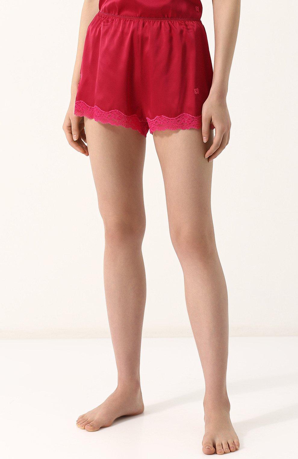 Женские шелковые мини-шорты с кружевной отделкой VANNINA VESPERINI красного цвета, арт. VVPE18-26 | Фото 3
