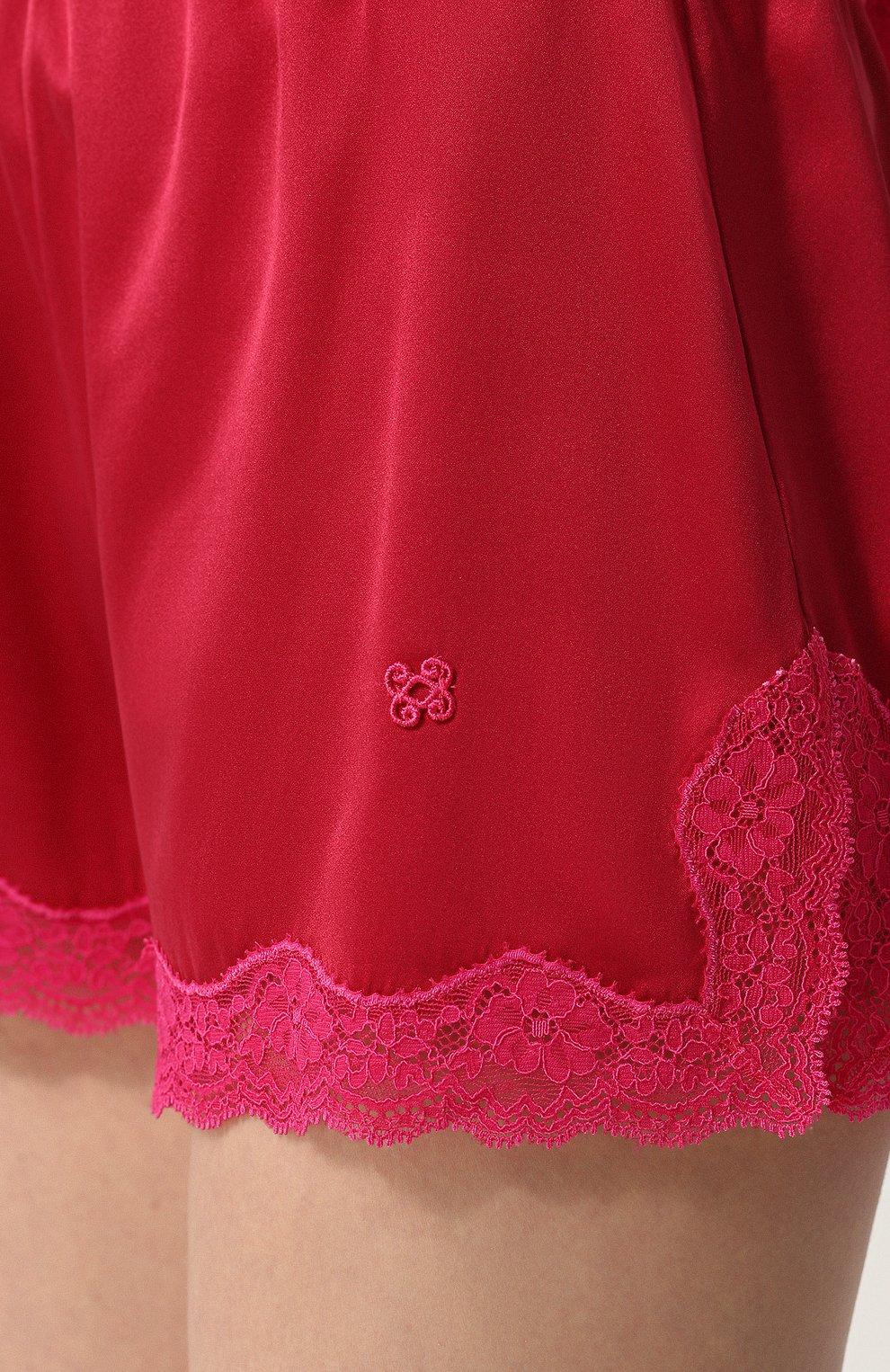 Женские шелковые мини-шорты с кружевной отделкой VANNINA VESPERINI красного цвета, арт. VVPE18-26 | Фото 5