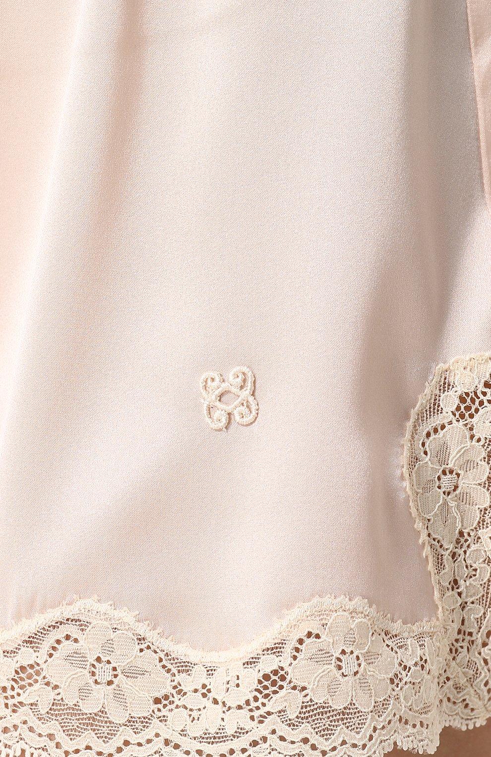 Женские шелковые мини-шорты с кружевной отделкой VANNINA VESPERINI розового цвета, арт. VVPE18-26 | Фото 5