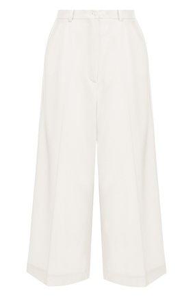 Укороченные однотонные брюки из шерсти Natasha Zinko белые   Фото №1