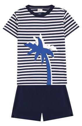 Детский хлопковый комплект из футболки и шорт IL GUFO темно-синего цвета, арт. P18DP1P2M1067/12M-18M | Фото 1