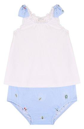 Детский хлопковый комплект из платья и шорт IL GUFO голубого цвета, арт. P18DP246C4039/12M-18M | Фото 1