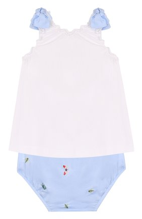Детский хлопковый комплект из платья и шорт IL GUFO голубого цвета, арт. P18DP246C4039/12M-18M | Фото 2
