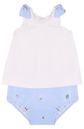 Детский хлопковый комплект из платья и шорт IL GUFO голубого цвета, арт. P18DP246C4039/3M-9M   Фото 1
